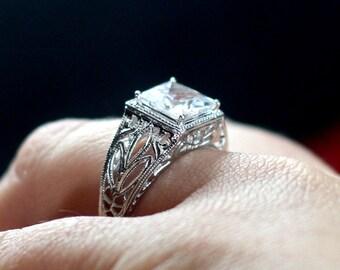 Vintage White Topaz Engagement Ring Antique Style Filigree Princess Cut 2.5ct 8mm Custom Plutus Size White-Yellow-Rose Gold-10k-14k-18k-Plat