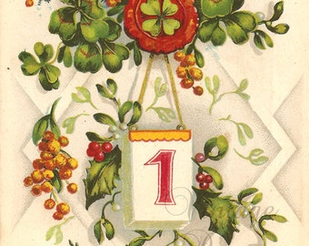 Antique French New Year Postcard Four Leaf Clovers & Holly Chromo Post Card from Vintage Paper Attic