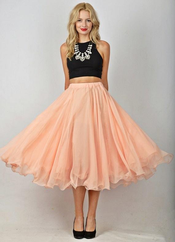 Vintage 80s Light Peach Skirt High Waist Retro Full circle