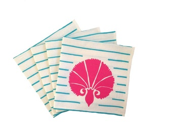 SALE: Pink and turquoise Carnation stripe linen napkins (set of 4)