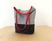 Waterproof Nautical Striped Tote Bag - Waxed Canvas Base in Black - Leather Handles in Red - Red Lining - Shoulder Bag