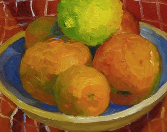 Still Life Oil Painting Colorful Fruits on Canvas