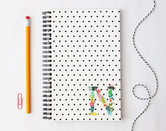 Monogram Notebook Custom Journal Personalized School Supplies Black and White Polka Dot Floral Initial Flower Note Book Teacher Gifts Lined