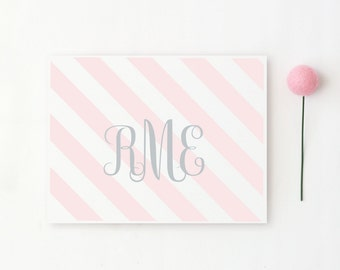 Monogram Stationery Personalized Stationary Custom Thank You Notes Light Pink and Grey Stripe Note Cards for Girls Initials Baby / Set of 10