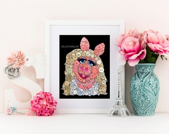 Button Art Miss Piggy 11x14 Button Art with Swarovski Flatback Rhinestones The Muppets Wall Art