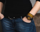 Hand watch with hand-woven strap, photo watch, yellow, gold, folk, bracelet, gift box, unisex