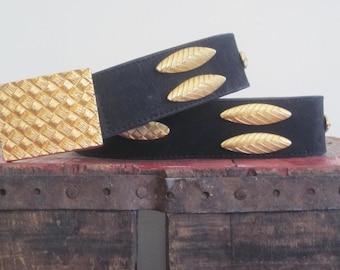 Escada / Black Gold Belt / 1980s / Classic / High Fashion / Statement Belt / Career