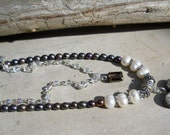 Chocolate Brown Heart & Pearl Necklace BoHully Bead Double Strand