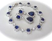 Sapphire bracelet and earring set ~ Cubic zirconias ~ Brides jewelry set ~ Halo design ~ Something blue ~ Wedding jewelry set ~ KATE