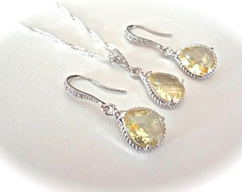 Yellow Topaz set - Earrings and a necklace - Sterling silver necklace and ear wires - High Quality- Bridal Jewelry -