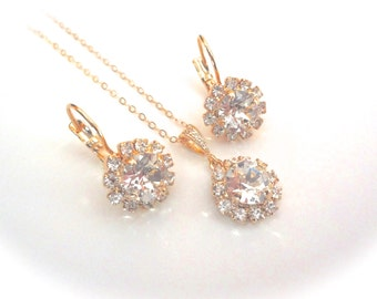 Brides jewelry set ~ Halo ~ Gold necklace and earring set ~ Swarovski Crystals ~ Gold filled ~ Bridesmaids ~ High quality ~ Gift ~ SOPHIA