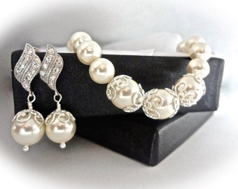 Pearl set -  Pearl Bracelet and earring set - Brides pearl set ~ Beautiful filigree caps - Elegant - Bridesmaids -The LACEY collection