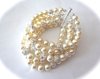 Pearl cuff bracelet ~ 5 Strand ~ Cuff statement bracelet ~ Swarovski pearls and rhinestones ~ Bridal jewelry ~ Brides bracelet ~ Stunning