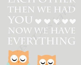 Gray, Aqua and Orange Owl Nursery Print, Woodland Nursery Decor - 8x10