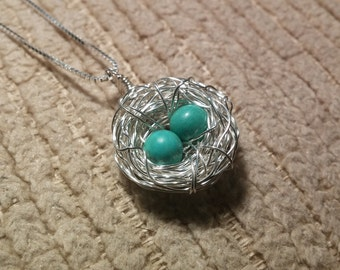 Birds Nest Necklace with 2 Eggs Sterling Silver