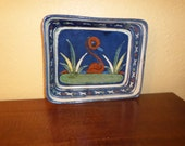 Rectangle Bowl//Tlaquepaque/MEXICAN RED CLAY/Hand Painted/Vintage/Blue/Glazes/1970's