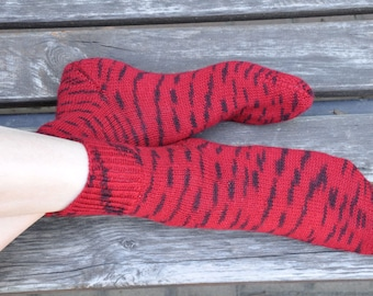 Hand knitted women's fishnet Socks for her red wine oxblood