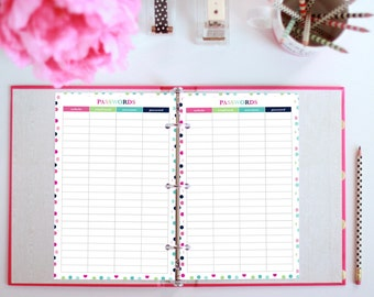 Items similar to Password Log - Printable Planner Insert - 8.5 x ...