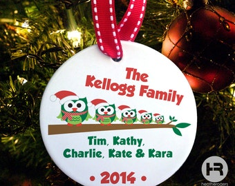 Owl Family of 5 Ornament, Personalized Family Christmas Ornament