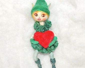 St. Patrick's Day spun cotton Irish step dancer  OOAK vintage craft by jejeMae