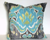 Turquoise Blue and Grey Medallion Ikat Decorative Pillow Cover 20x20 22x22 24x24 or 14x20 Lumbar Pillow Cover Accent Pillow Throw Pillow