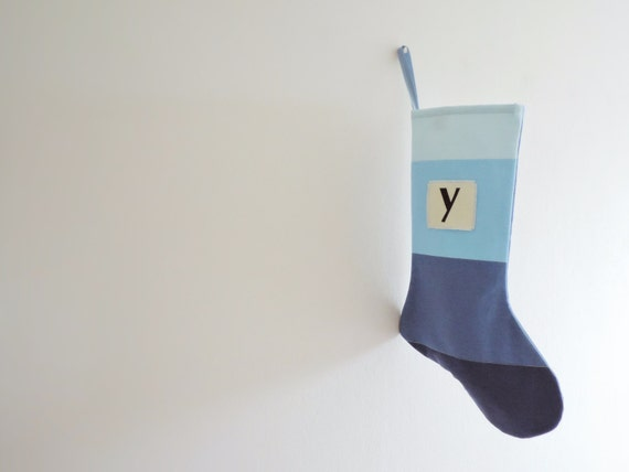 Personalized Christmas Stocking Personalized, Modern Striped Colorblock Personalized Stocking Monogram Color Block Girl Boy Wonderland Blue