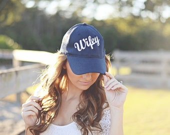 WIFEY TRUCKER HAT / Bridal Gift / Navy Blue / Bachelorette Party Gift / Bride / Bridesmaid / Honeymoon