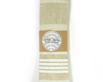 ivory and white screenprinted striped linen necktie - Wedding Mens Tie Skinny Necktie - Laid-Back necktie