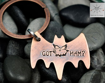 Personalized Keychain - Got Ham? - Hand Stamped Bat Key Chain - When Pigs Fly - Pigasus - Superhero