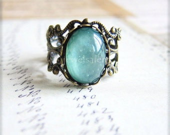 Blue Mint Green Ring Antique Brass Ring Vintage Filigree Ring Rustic Modern Victorian Teal Mint Ring Gift Fantasy Fairy Tale Whimsical T1