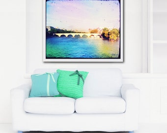 Paris Photography Paris Bridge, Seine River, Pink Paris Wall Decor, Paris Art Print, Hearts, Romantic Paris Art