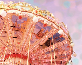 Merry Go Round Photography, Paris Merry Go Round, Pink Paris Art, Paris Carousel, Nursery Decor Nursery Wall Art