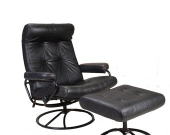 Mid Century Ekornse Stressless Black Leather Lounge Chair Recliner