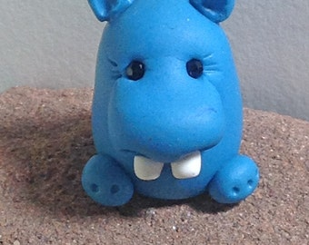 Hippo Pocket Totem, Miniature Hippo Figurine, Polymer Clay Hippo Figurine, Miniature Clay Figurine, Cute Hippo by Classon Creations