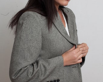 90s RALPH LAUREN Grey Wool Tweed Coat with Black Lambskin Leather Collar, Medium Gray Green Overcoat, Campus Blazer, Office Tailored Jacket