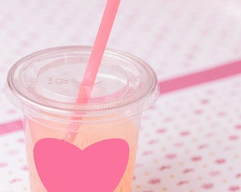 30 Pink Heart Party Cups, Lids, and Plastic Straws - 12 oz or 16 oz - Valentines Day, Wedding, Birthday, Baby Shower, Party