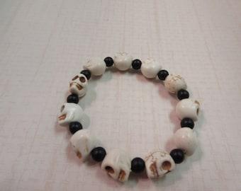 White howlite skull bracelet.