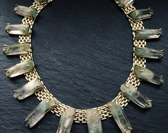 Green Phantom Quartz Collar - Brass