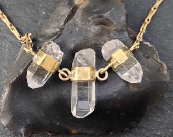 Trio Banded Quartz Necklace - Brass