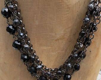 Multi-Strand Necklace - Gunmetal Chain & Beads - Handmade Jewelry -