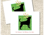 On Donner, On Blitzen... - Festive Fawn colored boxer, tail cropped but ears not cropped Reindeer - Single Christmas Card - Small Art Print