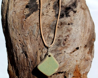 Hawaiian Unique Light Green & Tan Beach Pottery Tile Wire Wrapped in 925 Sterling Silver on India Leather Necklace