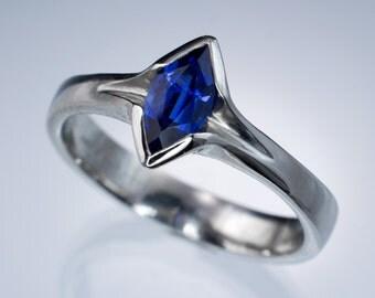 Marquise Blue Sapphire Engagement Ring in Palladium or Gold, Unique Bezel Sapphire Ring, Diamond Alternative