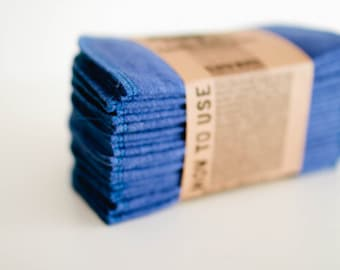 Baby Cloth Wipes  Solid Royal Blue Baby Wipes Cloth Wipes Set of 20 Baby Wipes - Reusable Flannel Wipes