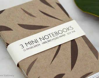 Mini Notebooks - Set of 3 - Leaves Design
