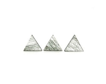 Tourmalinated Quartz Crystal 1 Triangle Slice 10mm Green Tourmaline Included Quartz For Jewelry Making and Setting (Lot C17A) Cabochon