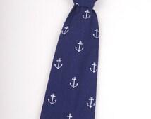 Navy Blue Anchors Boys Necktie - Navy boys tie - toddler tie - baby tie - blue boys tie - blue boys necktie - Nautical boys tie - anchor tie