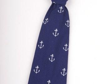Navy Blue Anchors Boys Necktie, navy tie, nautical tie, nautical necktie, boy's necktie, navy blue tie, anchors tie, anchors necktie,  tie