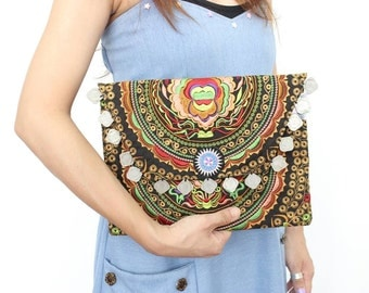 Embroidered Clutch With Coins Decoration HMONG Fabric Thailand (BG306WC-APE)