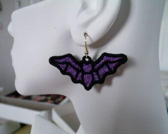 SALE Bat Lace Charm Earrings, Purple with Black, Hypo-Allerginic Hook Earrings